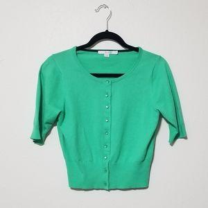 Boden Fifties Silk Blend Green Cropped Cardigan
